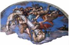 Le jugement dernier, détail de la lunette supérieure droite: les anges lèvent la colonne de la flagellation, qui penche vers la droite, pour répondre à la croix levée dans la lunette gauche. 1537-1541. Fresque, Chapelle Sixtine, Vatican