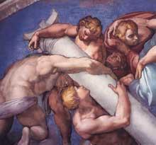 Le jugement dernier, détail de la lunette supérieure droite. 1537-1541. Fresque, Chapelle Sixtine, Vatican
