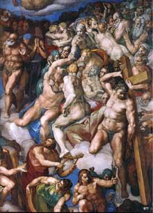 Le jugement dernier, détail: les élus à la gauche du Christ sont bénis. On reconnaît Simon de Cyrène avec la croix, saint Sébastien, modèle de nu classique, tenant les flèches de son martyr. 1537-1541. Fresque, Chapelle Sixtine, Vatican