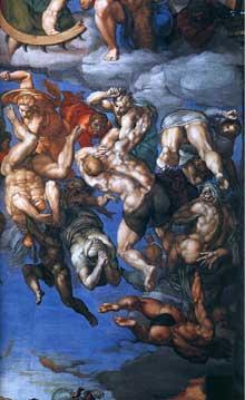 Le jugement dernier, détail: les damnés sont littéralement «aspirés» par l'enfer, Réminiscence de l'enfer de Dante, familier à l'artiste. 1537-1541. Fresque, Chapelle Sixtine, Vatican