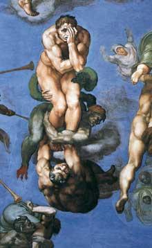 Le jugement dernier, détail: figure centrale d'un damné exprimant désespoir, remord, anéantissement physique et spirituel… 1537-1541. Fresque, Chapelle Sixtine, Vatican