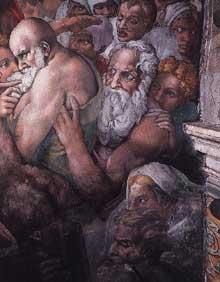 Le jugement dernier, détail: les élus. La figure barbue est sans doute Moïse ou Adam. 1537-1541. Fresque, Chapelle Sixtine, Vatican