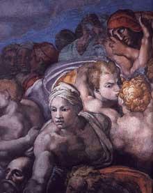 Le jugement dernier, détail: les élus. 1537-1541. Fresque, Chapelle Sixtine, Vatican