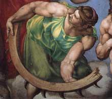 Le jugement dernier, détail du cortège des saints: sainte Catherine d'Alexandrie et sa roue du martyre tournée vers saint Blaise. A l'origine elle était entièrement nue, mais devant le scandale provoqué, Michel Ange la vêtit. 1537-1541. Fresque, Chapelle Sixtine, Vatican