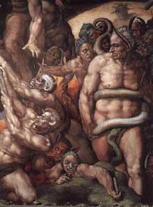 Le jugement dernier, détail: Minos, le juge des enfers, au milieu des démons, entouré d'un serpent. Selon Vasari, il est représenté sous les traits du maître des cérémonies du pape, Biagio da Cesena, qui ne cessait de se plaindre de la nudité des personnages de Michel Ange… 1537-1541. Fresque, Chapelle Sixtine, Vatican