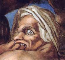 Le jugement dernier, détail: un damné précipité en enfer. 1537-1541. Fresque, Chapelle Sixtine, Vatican