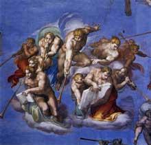 Le jugement dernier, détail: les anges soufflant dans les trompettes du jugement. 1537-1541. Fresque, Chapelle Sixtine, Vatican