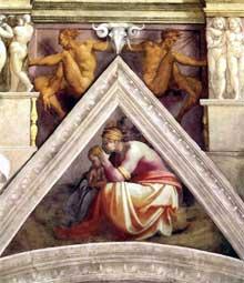 Voûtain des ancêtres du Christ: Reboam et ses parents, détail. 1510. Fresque, 245 x 340 cm. Chapelle Sixtine, Vatican