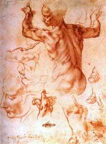 Michel Ange: étude pour la Sibylle de Libye. 1511. Sanguine. 28,5 x 20,5cm. New York, Metropolitan Museum