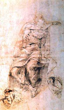 Michel Ange: étude pour l'un des prophètes de la chapelle Sixtine. Plume. Chantilly, Musée Condé
