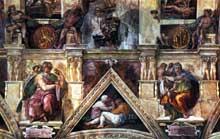 Michel Ange: section longitudinale de la voûte de la chapelle Sixtine avec la sibylle de Delphes et le prophète Isaïe