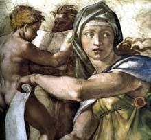 Michel Ange: section longitudinale de la voûte de la chapelle Sixtine: détail de la sibylle de Delphes avant restauration