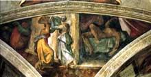 Michel Ange: pendentif de Judith et Holopherne: vue générale. Chapelle Sixtine, Vatican