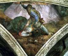 Michel Ange: pendentif de David et Goliath: vue générale. Chapelle Sixtine, Vatican