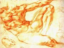Michel Ange: étude pour la création d'Adam de la chapelle Sixtine. Vers 1511. Sanguine. Paris, musée du Louvre, cabinet des dessins.