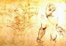 Michel Ange: croquis préparatoire pour le décor de la chapelle Sixtine avec étude de bras et de mains. 1508-1509. Plume sur mine de plomb et fusain. 27,5x39cm. Londres, British Museum