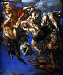 Le jugement dernier, détail: groupe de damnés refoulés dans les enfers. 1537-1541. Fresque, Chapelle Sixtine, Vatican