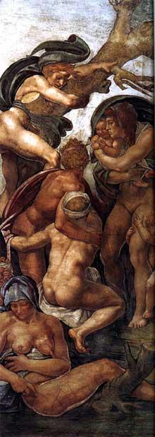 Le déluge, détail. 1508-1509. Fresque, Chapelle Sixtine, Vatican