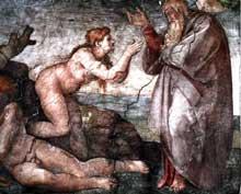 La création d'Eve, détail. 1509-1510. Fresque, 280 x 570 cm. Chapelle Sixtine, Vatican