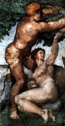 Le paradis terrestre et la chute, détail. 1509-1510. Fresque, chapelle Sixtine, Vatican