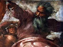 Création du soleil, de la lune et des plantes (avant restauration). 1511. Fresque, 280 x 570 cm. Chapelle Sixtine, Vatican