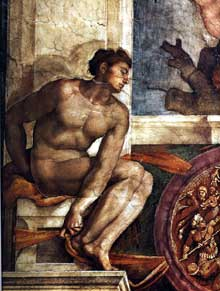 Michel Ange: un des «ignudi» de la sixième section (création d'Eve) de la chapelle Sixtine avant sa restauration