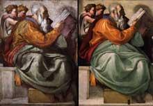 Michel Ange: le prophète Zacharie, avant et après la restauration. Chapelle Sixtine, Vatican