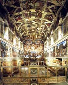 La chapelle Sixtine: vue d'ensemble avant la restauration de la voûte de Michel Ange.