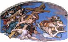 Le jugement dernier, détail: les anges protant la croix: lunette gauche. Fresque, Chapelle Sixtine, Vatican