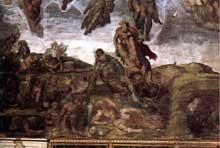Le jugement dernier, détail: les élus. Fresque, Chapelle Sixtine, Vatican
