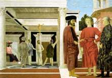 Piero della Francesca (1416-1492): La Flagellation. Vers 1455. Huile et tempera sur bois, 58.4 x 81.5 cm. Urbino, Galleria Nazionale delle Marche. (Histoire de l'art - Quattrocento
