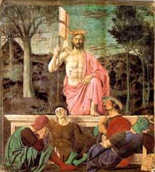 Piero della Francesca (1416-1492)�: La R�surrection. 1463-1465. Fresque et tempera sur mur, 225 x 200 cm. Borgo Sansepolcro, Pinacoteca Comunale. (Histoire de l�art - Quattrocento