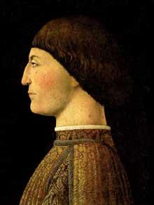 Piero Della Francesca (1416-1492): Portrait de Sigismond Pandolfo Malatesta. 1451. Huile et tempera sur panneau de bois, 44 x 34 cm. Paris, musée du Louvre. (Histoire de l'art - Quattrocento