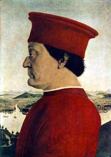 Piero Della Francesca (1416-1492): Portrait de Federico da Montefeltro. 1465-1466. Huile sur bois, 47 x 33 cm. Florence, galerie des Offices. (Histoire de l'art - Quattrocento