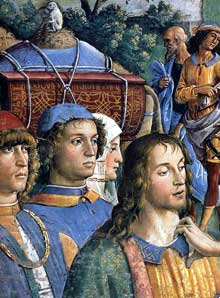 Pietro Vanucci dit Le Perugin (1450-1523): La Circoncision du fils de Moïse (détail). Vers 1482, fresque. Vatican, chapelle Sixtine. (Histoire de l'art - Quattrocento