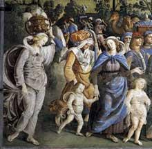 Le Pérugin: le retour de Moïse en Egypte et la circoncision de son fils Eliézer. Détail. Vers 1482. Fresque, 350x572cm. Chapelle Sixtine, Vatican