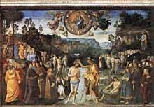 Le Pérugin: le baptême du Christ. Vers 1482. Fresque, 335x540cm. Chapelle Sixtine, Vatican
