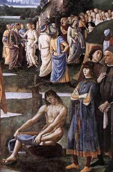 Le Pérugin: le baptême du Christ. Détail. Vers 1482. Fresque, 335x540cm. Chapelle Sixtine, Vatican