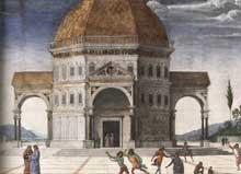 Le Pérugin: le Christ remet les clefs à saint Pierre (1481-1482). Détail. Fresque, 335 x 550cm. Chapelle Sixtine, Vatican