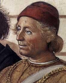 Le Pérugin: le Christ remet les clefs à saint Pierre (1481-1482). Détail: sans doute un portrait de Ghirlandaio. Fresque, 335 x 550cm. Chapelle Sixtine, Vatican.