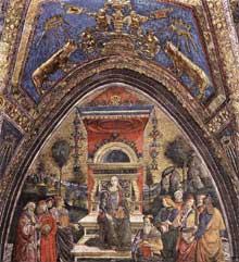 Il Pinturicchio: l'arithmétique. 1492-1494. Fresque, Vatican, palais pontifical, appartements Borgia