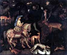Antonio Pisanello (1395-1455): Vision de Saint Eustache. 1444. Tempera sur bois, 55 x 65 cm). Londres, National Gallery. (Histoire de l'art - Quattrocento