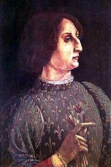 Piero del Pollaiuolo (1441-1496): portrait de Gian Galeazzo Maria Sforza. 1471, tempera sur panneau de bois, 65 x 42 cm. Florence, galerie des Offices. (Histoire de l'art - Quattrocento