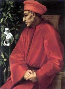 Jacopo Pontormo (1494-1557): Cosme de Médicis. Vers 1520. Huile sur bois, 85 x 65cm. Florence, Galerie des Offices. (Histoire de l'art - Quattrocento