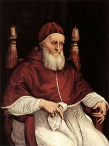 Raphaël Sanzio: portrait de JulesII. 1512. Tempera sur bois, 108,5 x 80 cm. Florence, les Offices