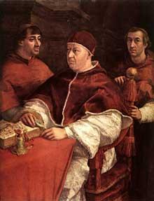 Raphaël: le pape LéonX avec les cardinaux Giulio de Médicis et Luigi de' Rossi. 1518-1519. huile sur bois, 154 x 119 cm. Florence, les Offices