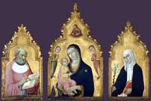 Sano di Pietro (1406-1481): le triptyque de Boston avec Saint Jérôme et sainte Claire. 1470. Panneau de bois. Boston, museum of Fine Arts. (Histoire de l'art - Quattrocento