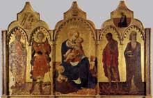 Stefano di Giovanni dit Sassetta 1394-1450): Vierge à l'enfant et quatre saints. 1435. tempera sur panneau de bois, 132 x 52 cm. Cortone, Musée Diocésain.  (Histoire de l'art - Quattrocento