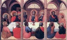Sassetta 1394-1450): la cène. Panneau du retable de l'Eucharistie (Arte della lana ou corporation des lainiers). 1423. Panneau, 24 x 38 cm. Sienne, Pinacoteca Nazionale. (Histoire de l'art - Quattrocento