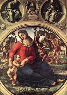 Madone et enfant. Vers 1490. Panneau, 170 x 117,5 cm. Florence, les Offices.